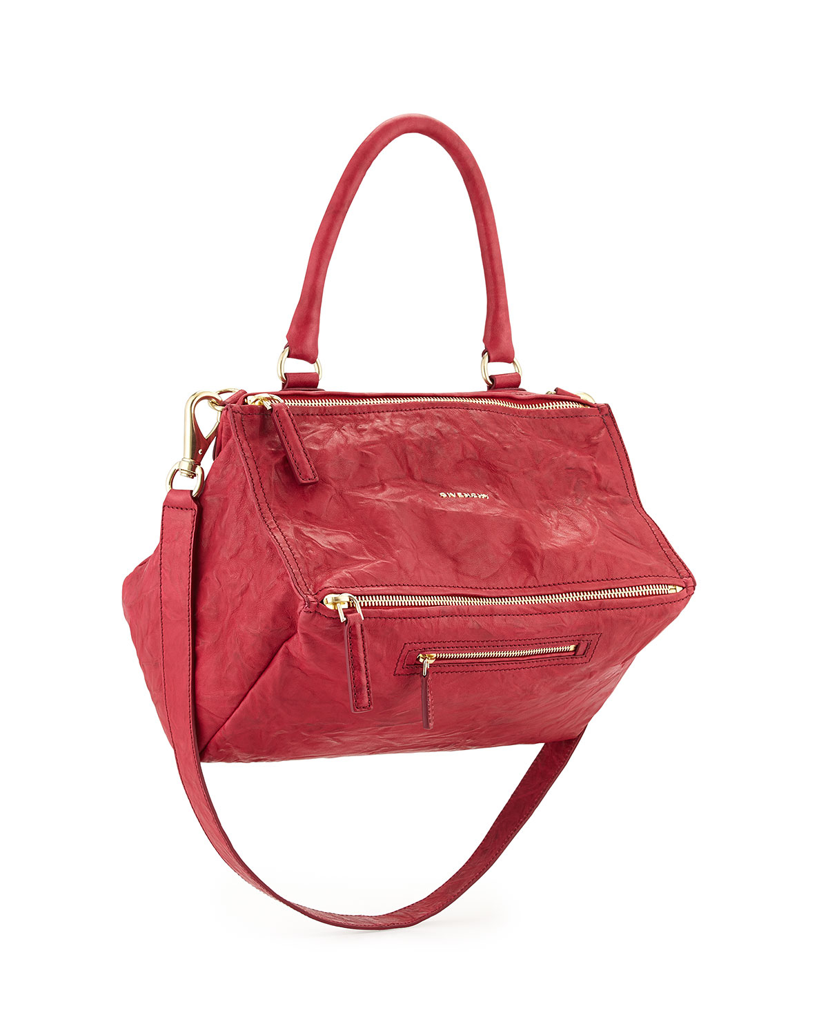 Lyst - Givenchy Pandora Medium Leather Shoulder Bag in Red fdd3d25736fee