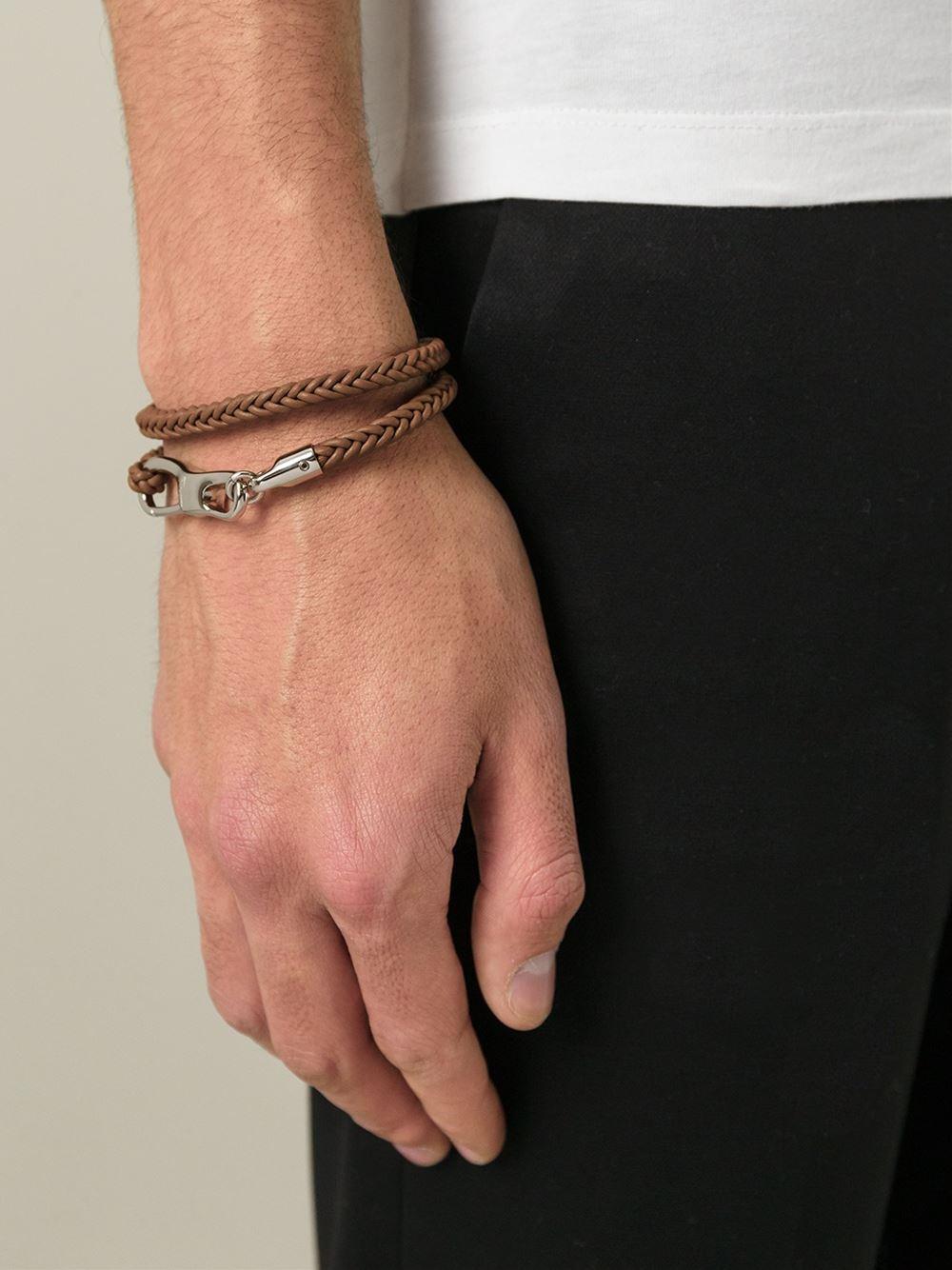 Lyst Ferragamo Woven Bracelet In Brown For Men