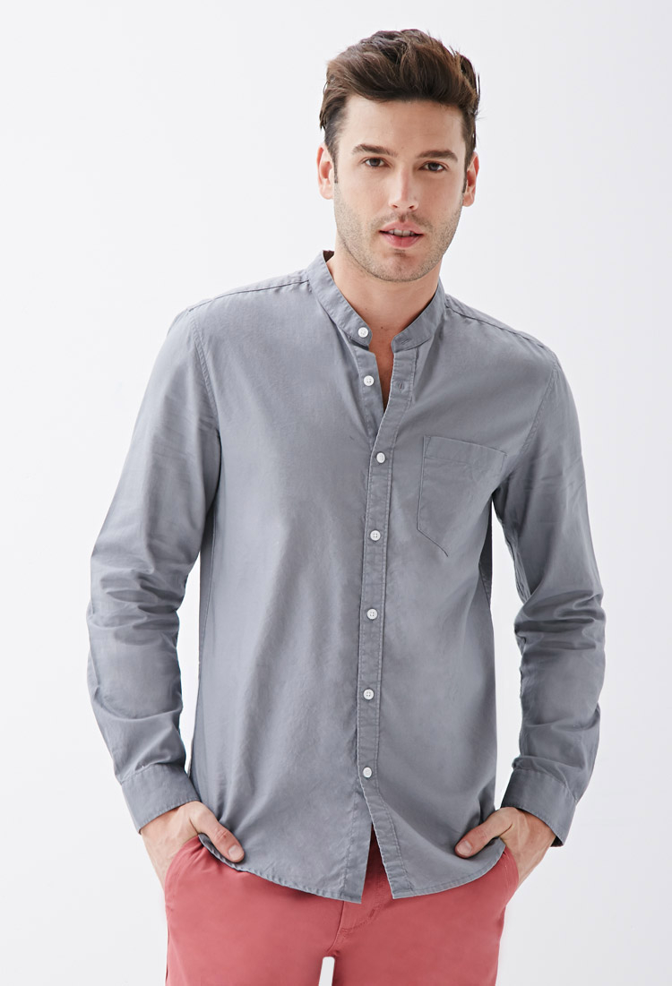 lyst forever 21 mandarin collar oxford shirt in gray for men