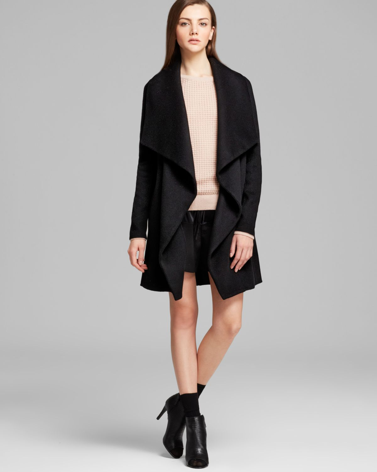 Vince Coat Asymmetric Leather Trim in Black | Lyst