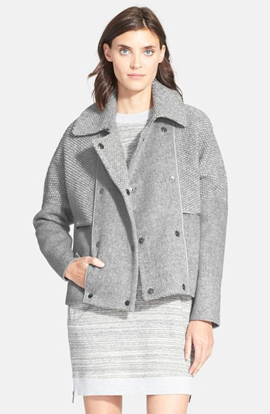 Vince Boucle Wool Coat in Gray | Lyst