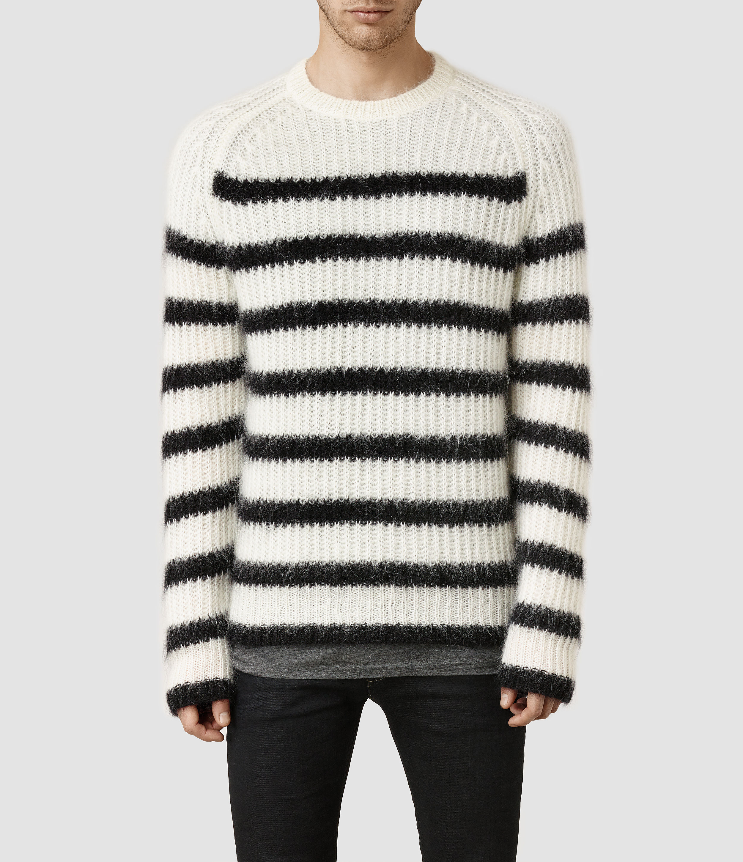 2519a0325 Lyst - AllSaints Breton Crew Sweater in Black for Men