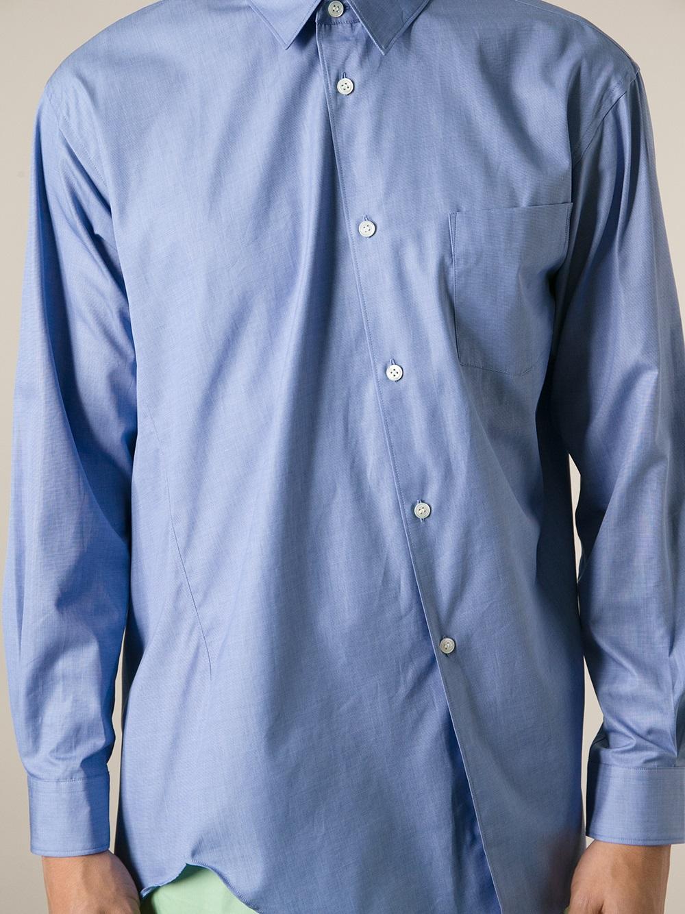 lyst comme des gar ons asymmetric shirt in blue for men. Black Bedroom Furniture Sets. Home Design Ideas