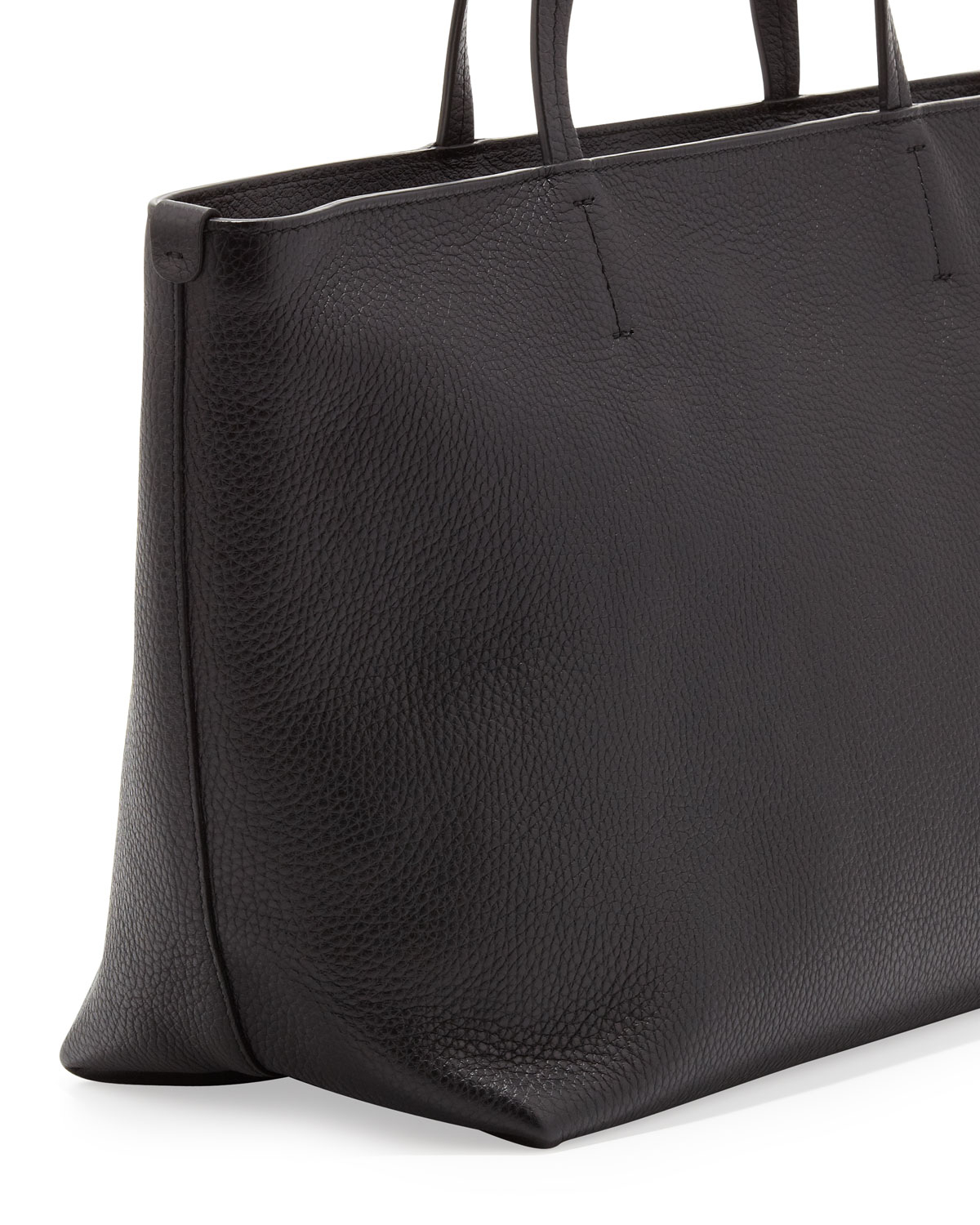 Ferragamo Bice Pebbled Leather Tote Bag in Black | Lyst