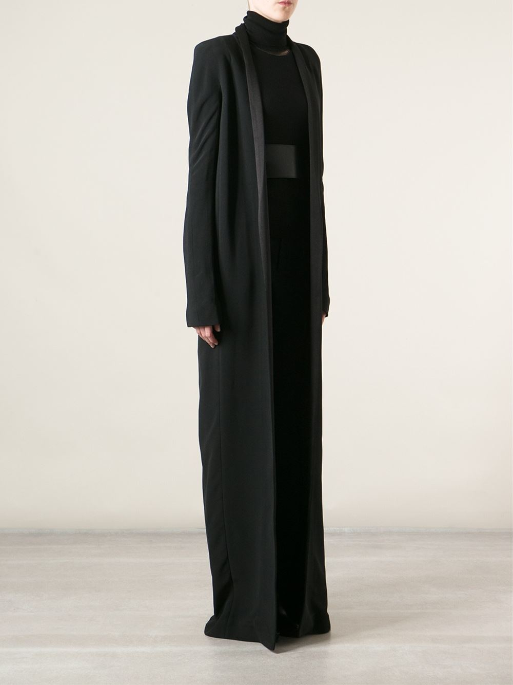 Awesome Haider Ackermann Crepe Tailored Floor Length Coat In Black | Lyst