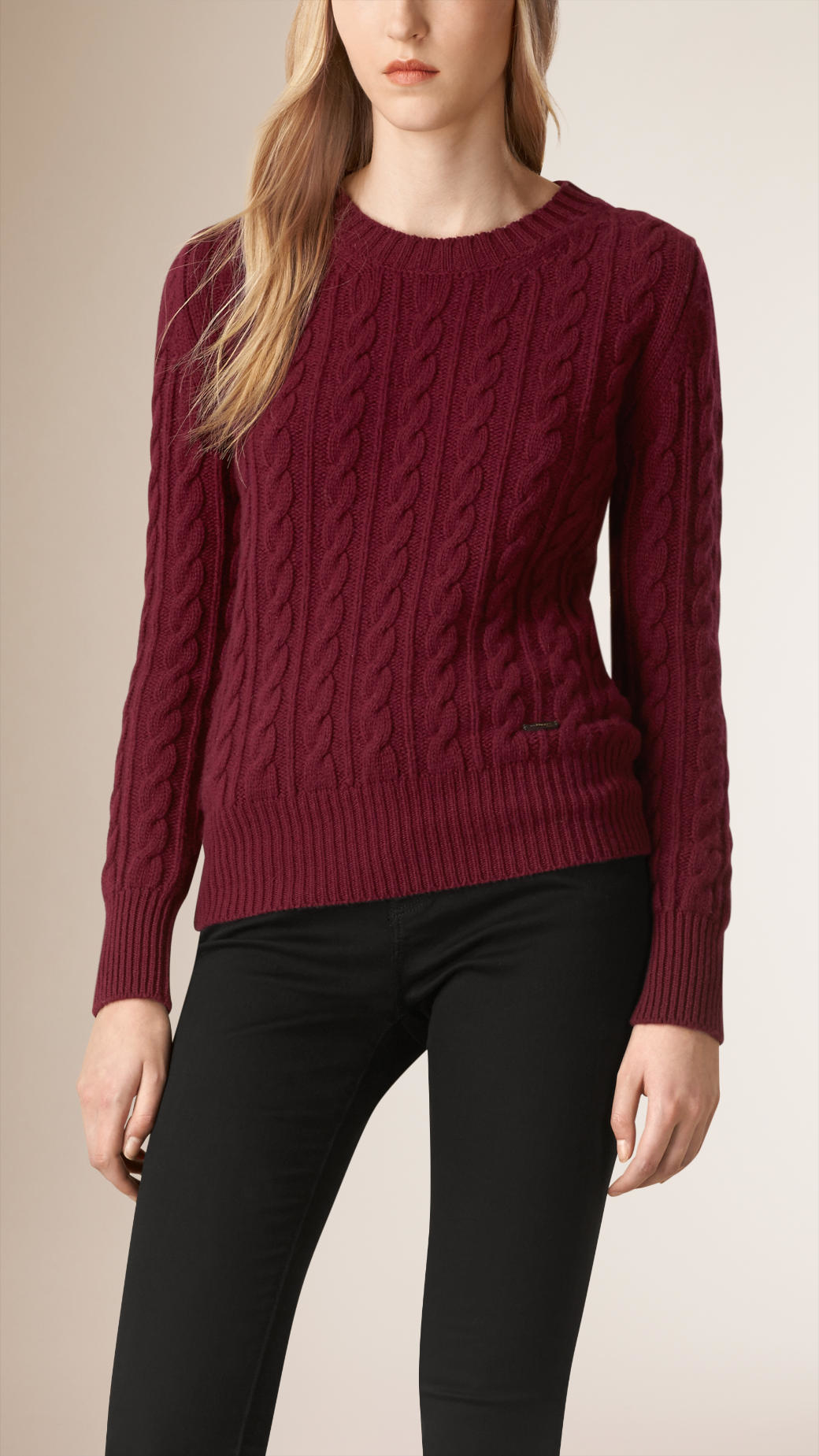 Wool Sweater Grey: Burberry Cable Knit Wool Cashmere Sweater Damson
