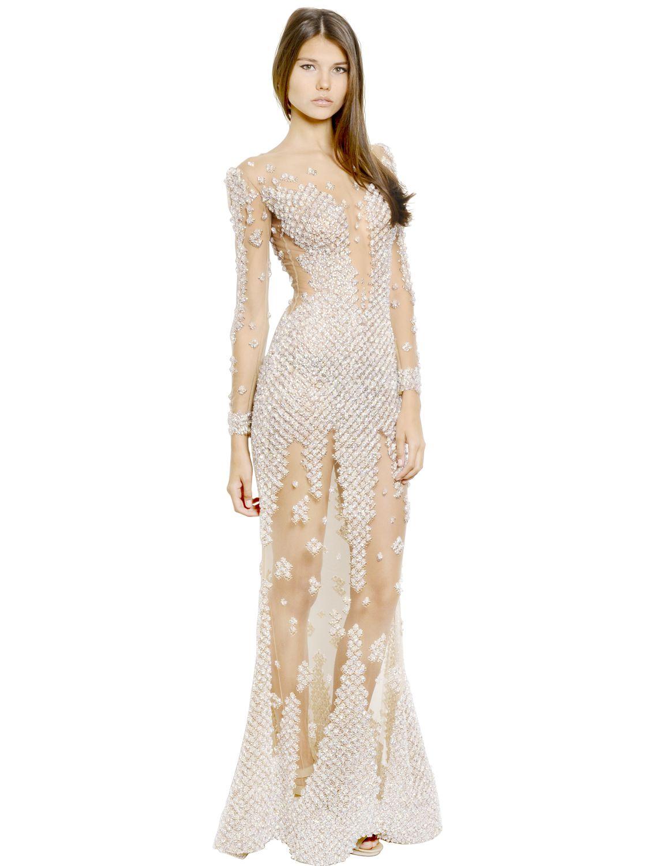 Lyst - Zuhair Murad Swarovski Embellished Silk Long Dress in White