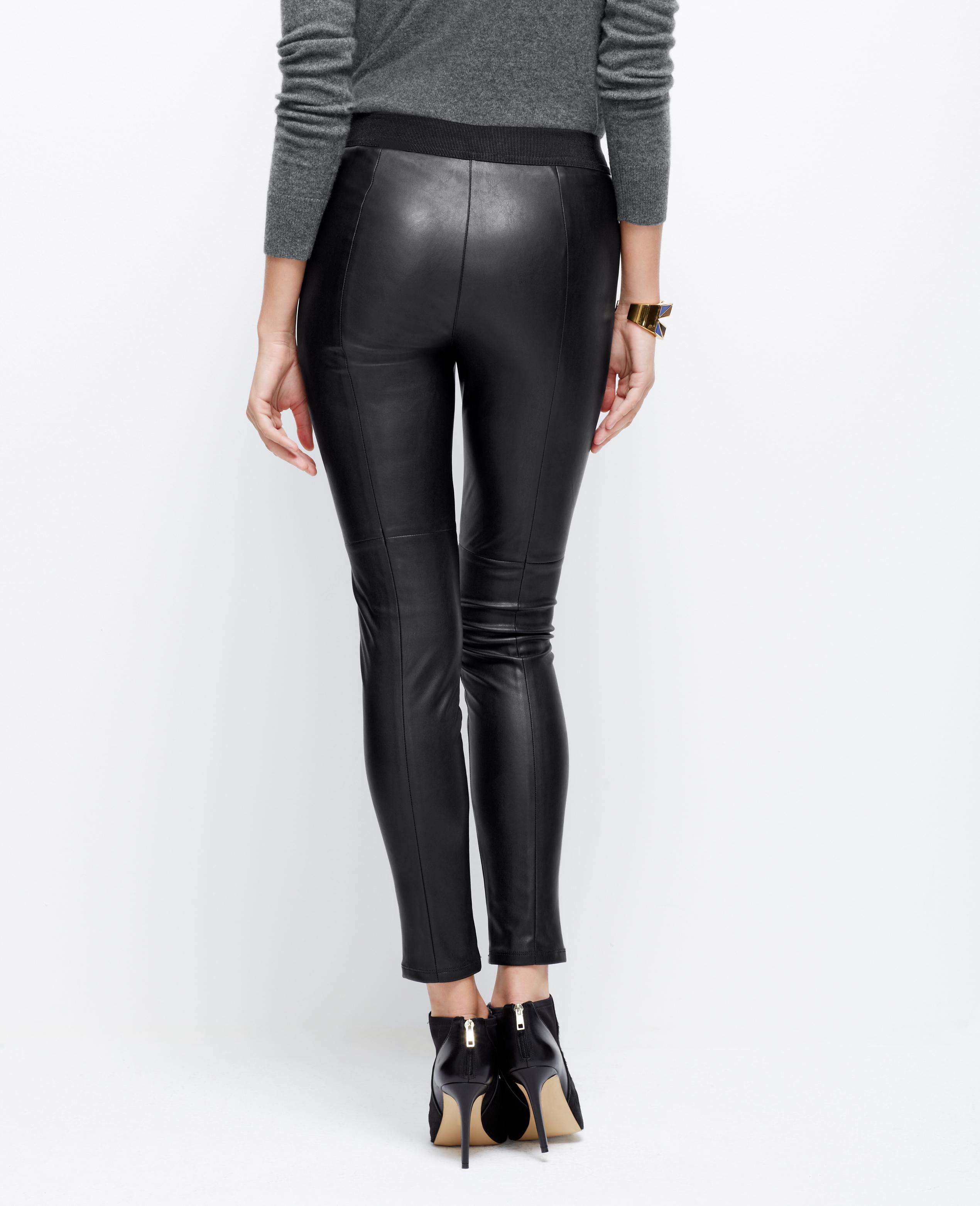 Lyst Ann Taylor Petite Faux Leather Leggings In Black
