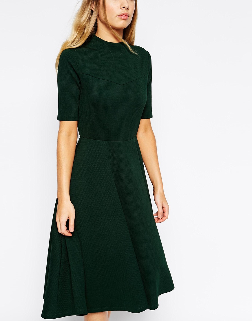 Lyst Asos High Neck Textured Midi Dress With Short