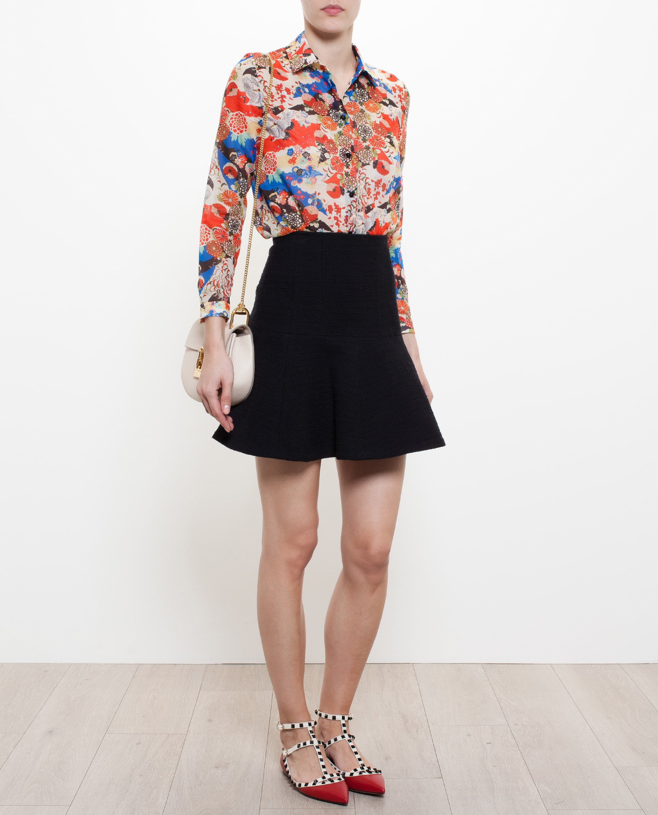 Lyst Carven Cotton Shirt With Japanese Floral Print