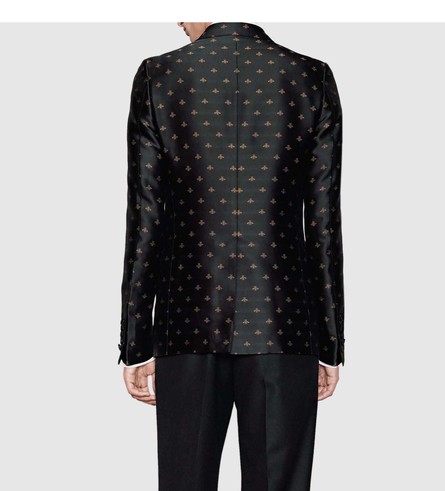 lyst gucci bee jacquard monaco jacket in black for men