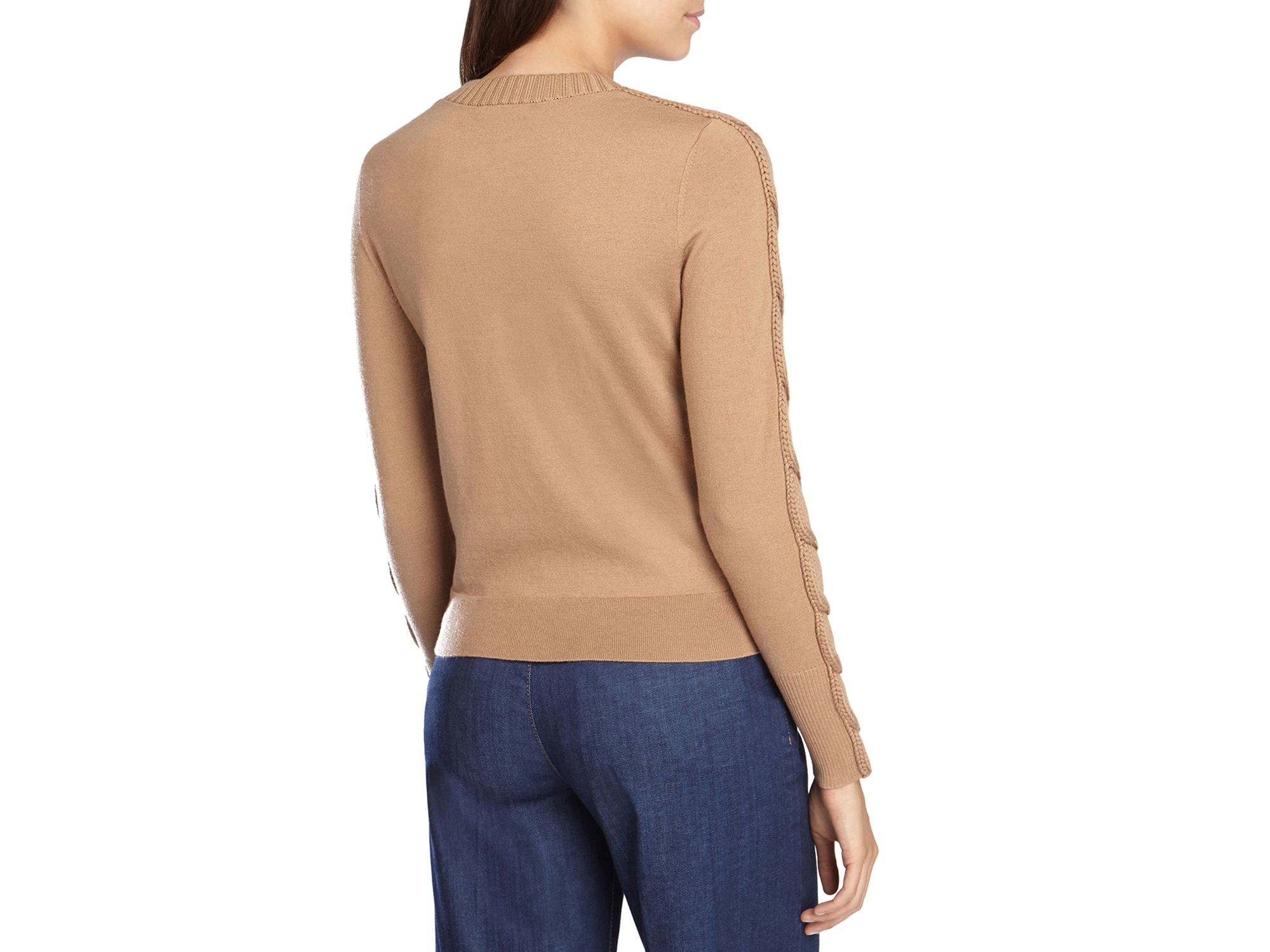 Karen millen Fine Gauge Cable Knit Sweater in Natural | Lyst