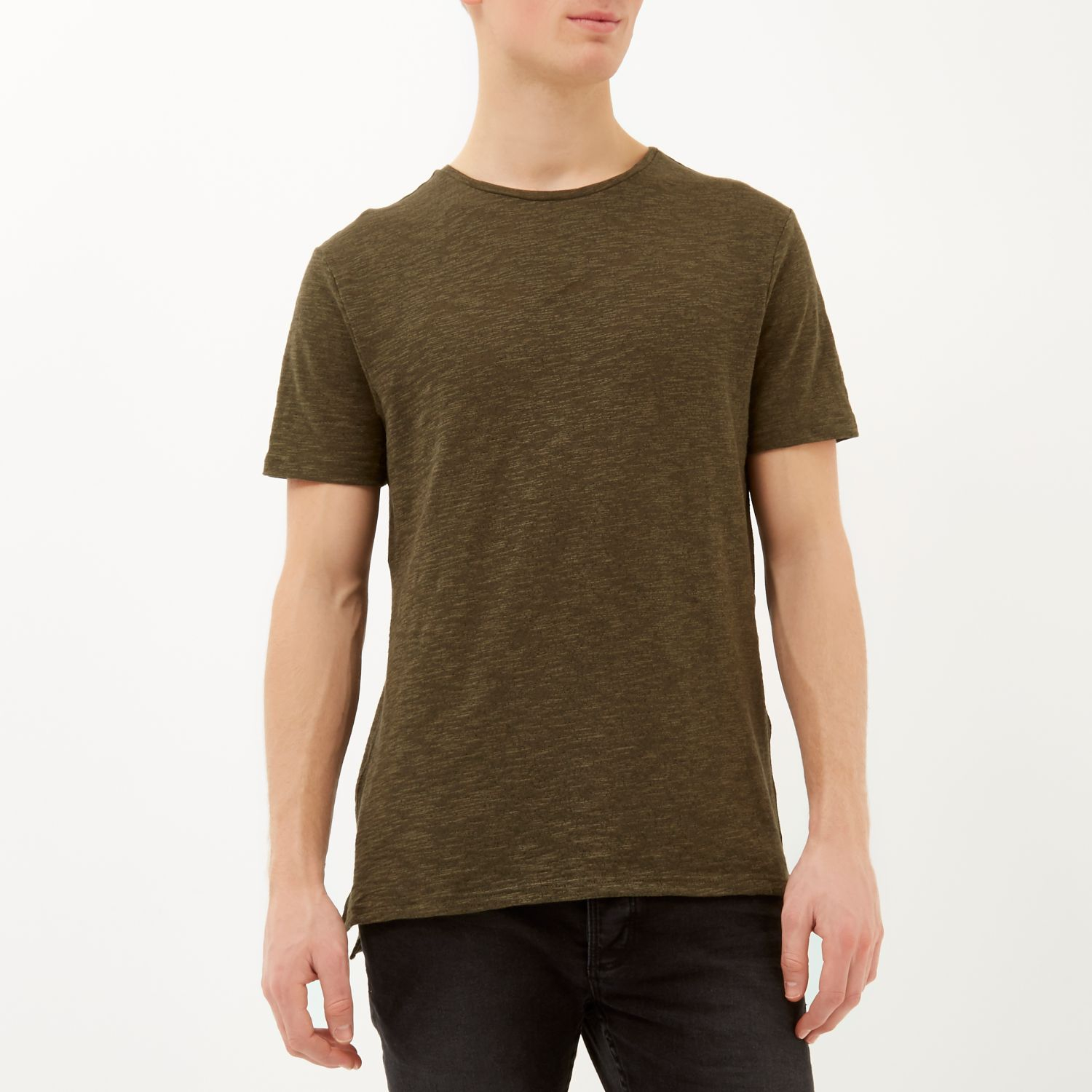 River island green stepped hem t shirt in green for men lyst for Bear river workwear shirts