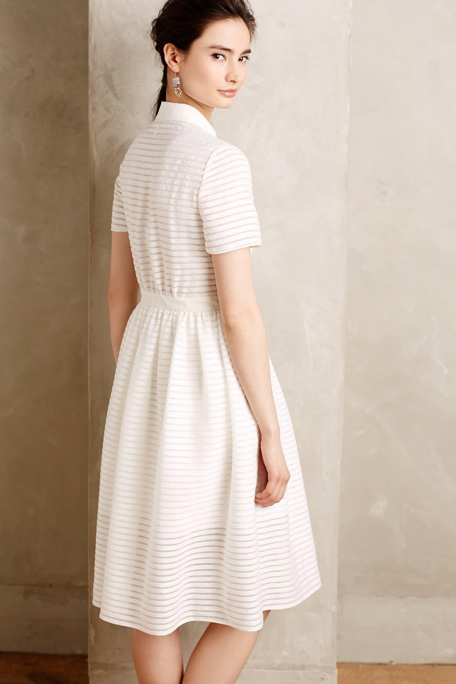 Erin Fetherston Sheerstripe Shirtdress In White Lyst