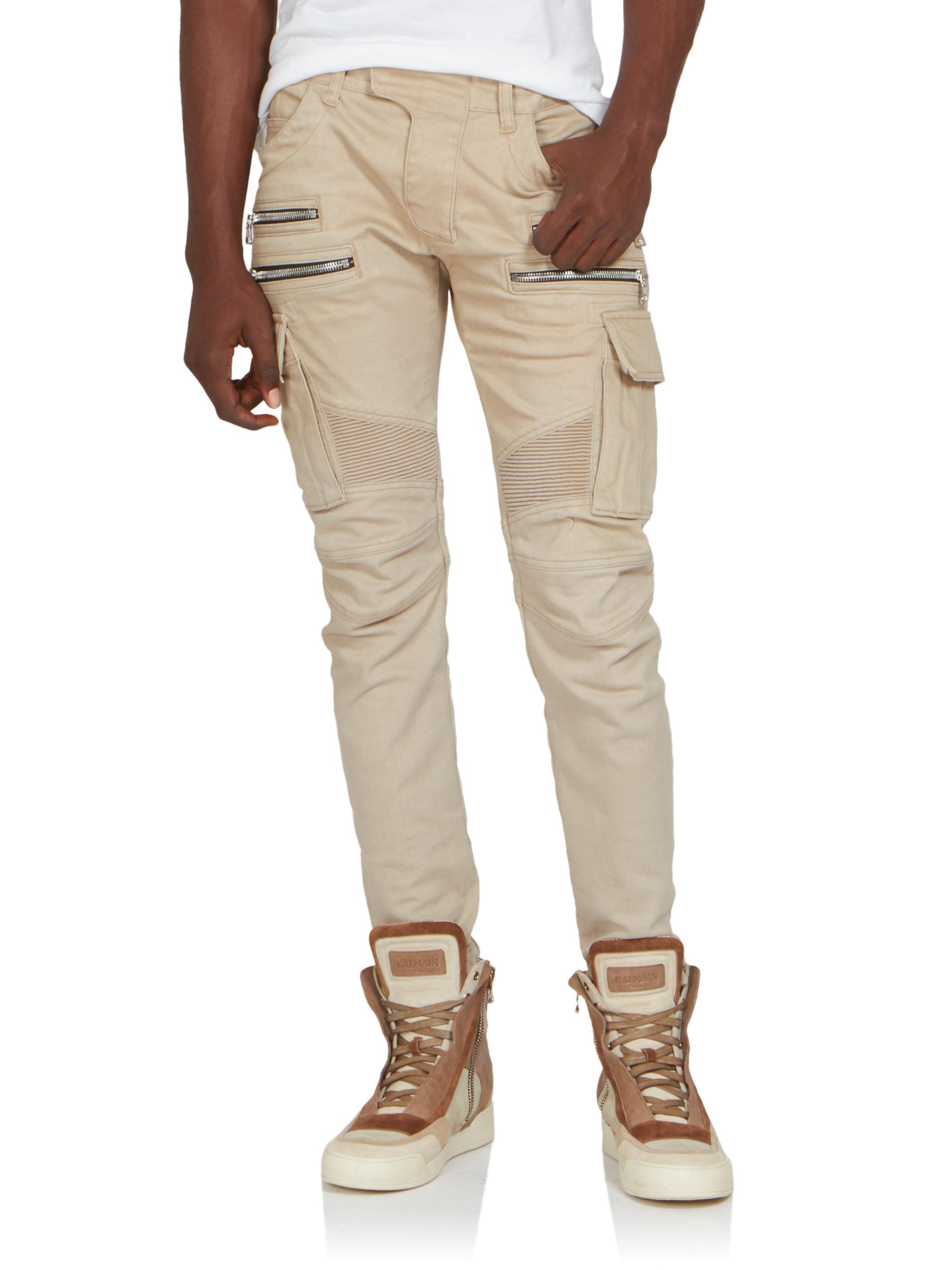 39e6a964 Balmain Biker Cargo Pants in Natural for Men - Lyst