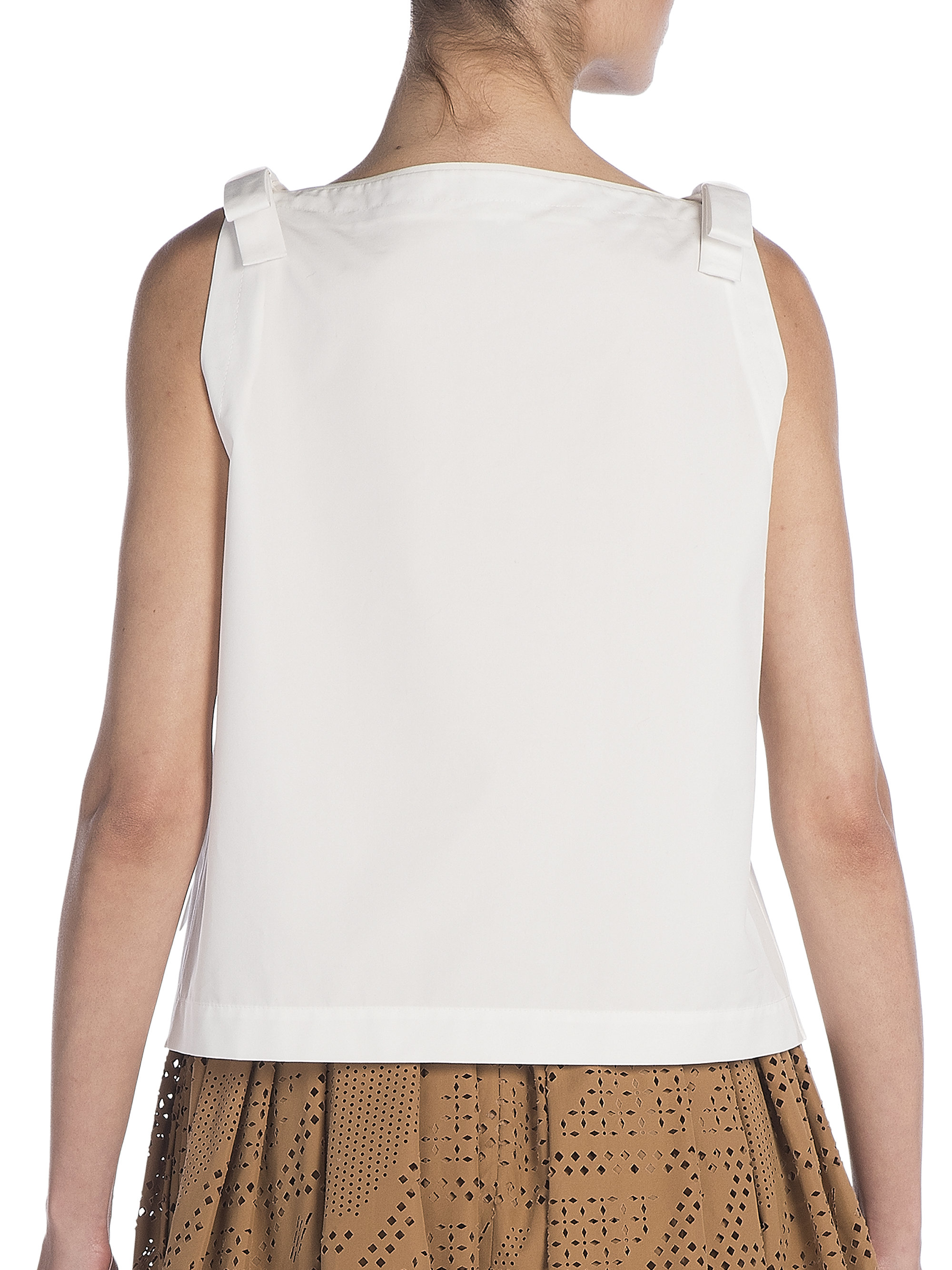Discounts Cheap Price Bow-embellished Cotton-poplin Top - White Fendi Outlet Newest Low Price Sale Online sc2Bfjxh