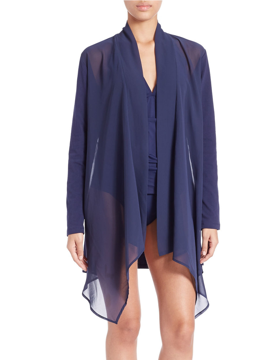 Tommy bahama Knit And Chiffon Cover-up in Blue | Lyst