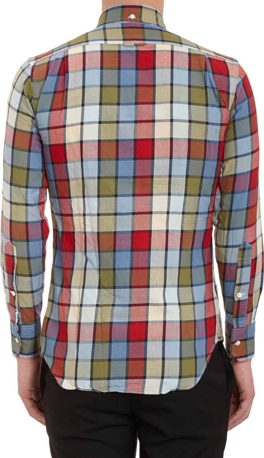 Lyst thom browne buffalo check flannel shirt in red for men for Buffalo check flannel shirt jacket