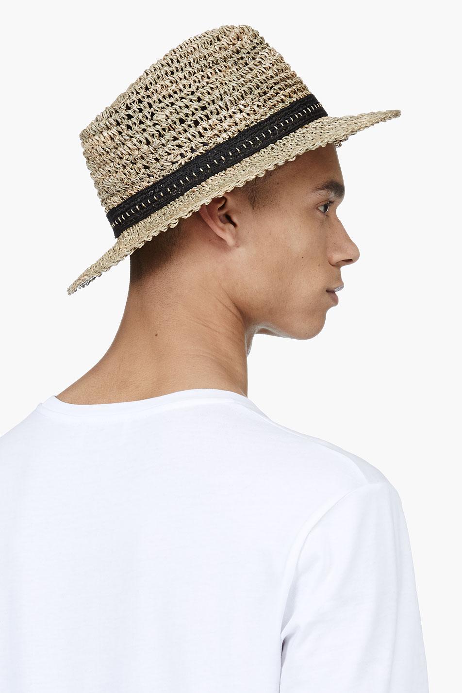 72926b81cf127 Lanvin Beige Open Weave Straw Hat in Natural for Men - Lyst