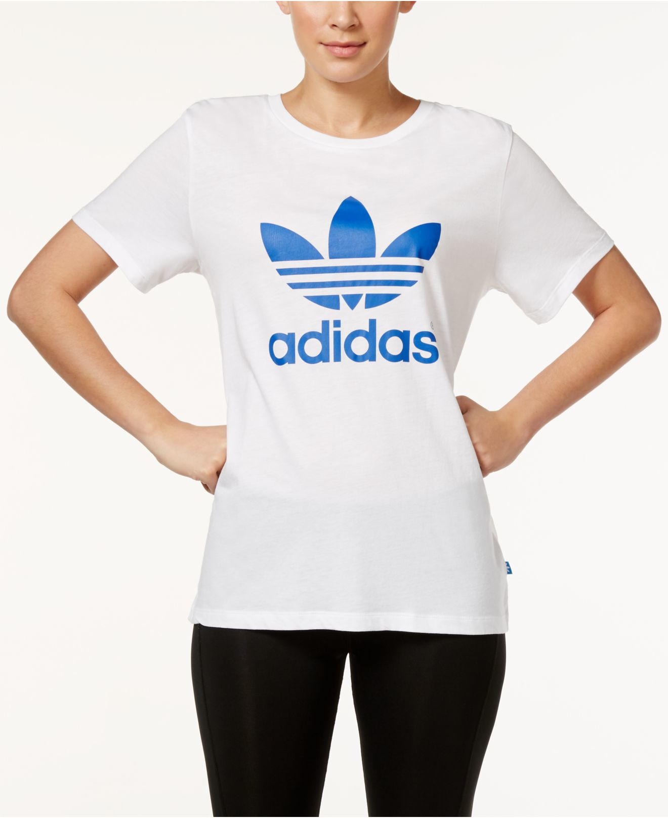 90566730620 adidas Originals Boyfriend Trefoil T-shirt in White - Lyst