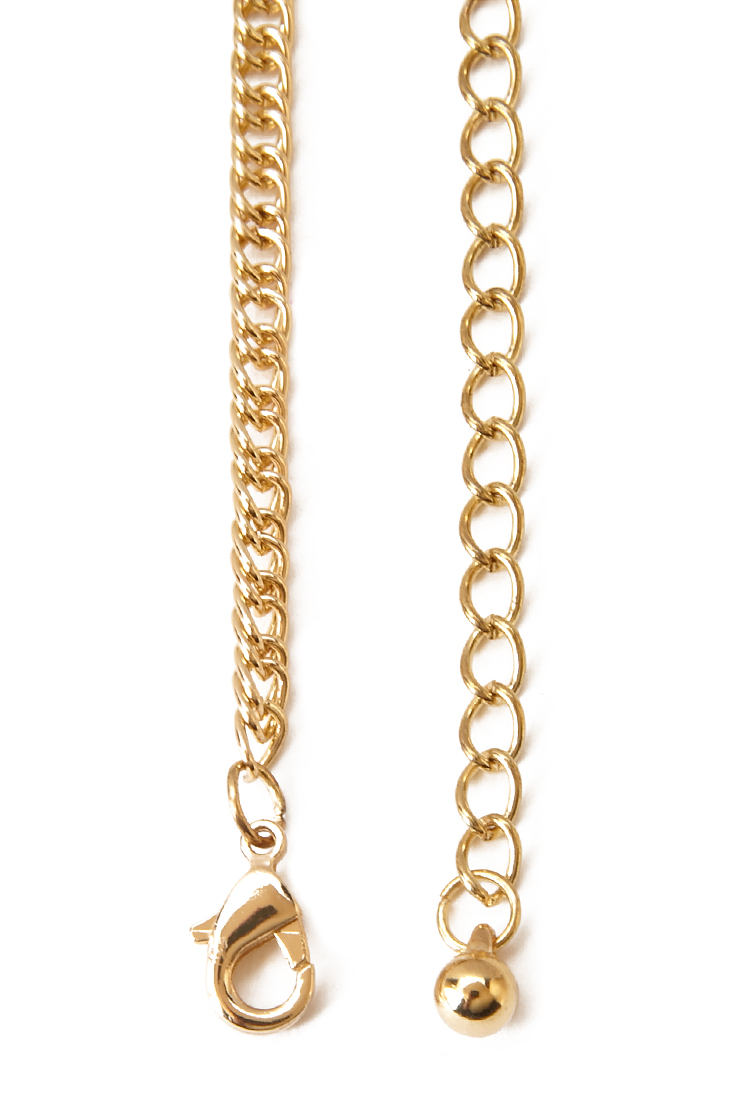 Lyst Forever 21 Two Tone Hanging Chain Necklace In Metallic