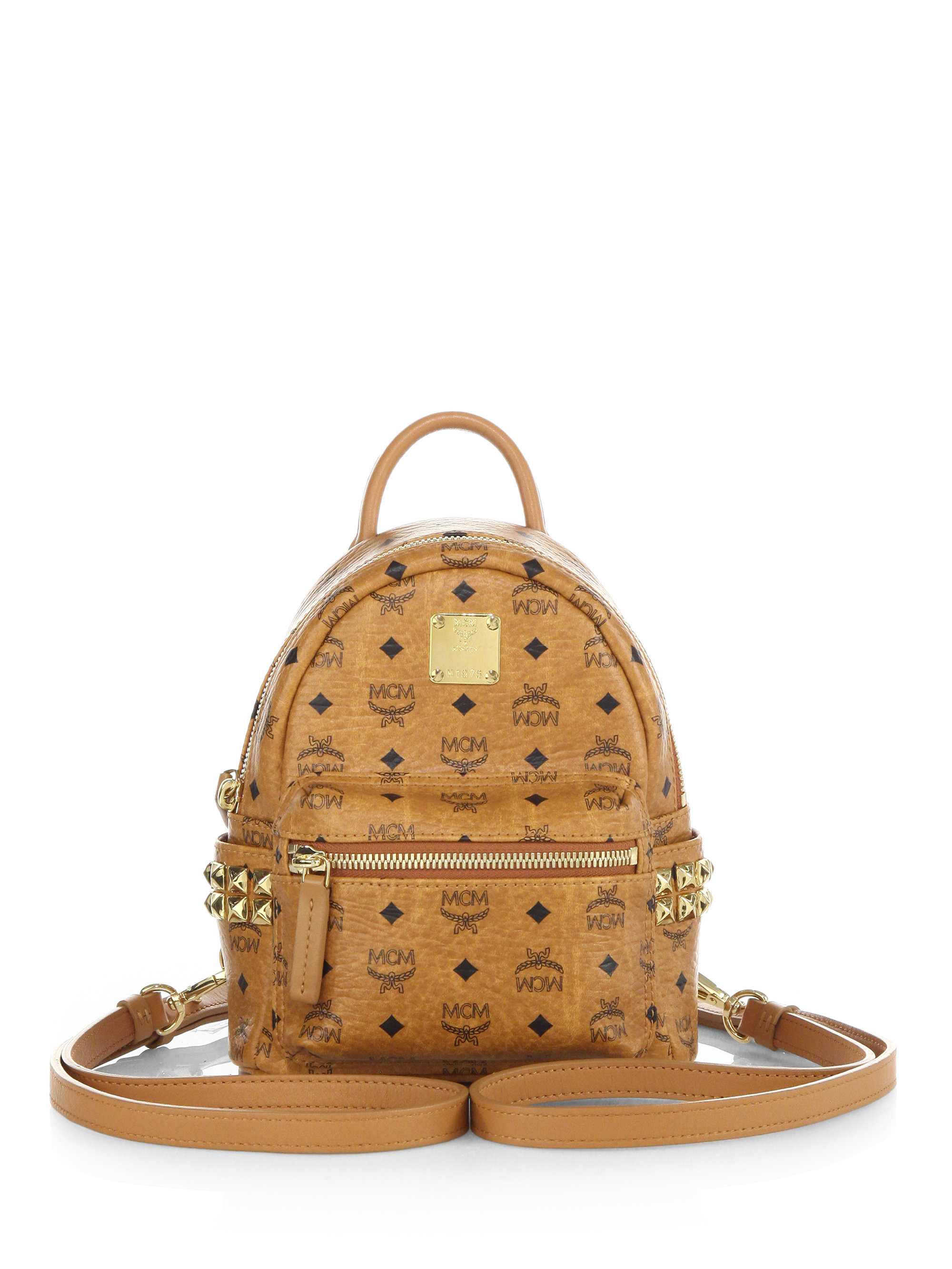 04a9504d9 MCM Stark Side Stud X Mini Coated Canvas Backpack in Brown - Lyst