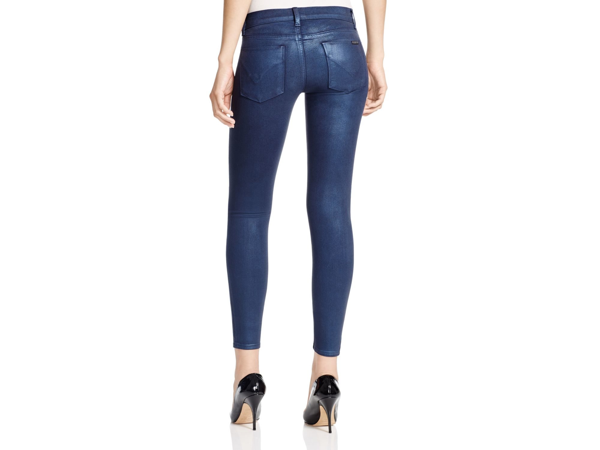 63e2e761 Hudson Jeans Krista Ankle Super Skinny Jeans In Metallic Midnight in Blue -  Lyst