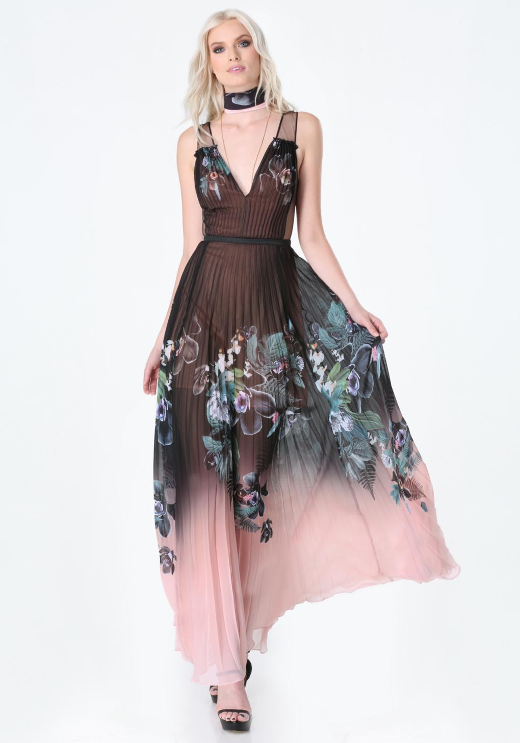 Lyst Bebe Print Pleated Maxi Dress In Black