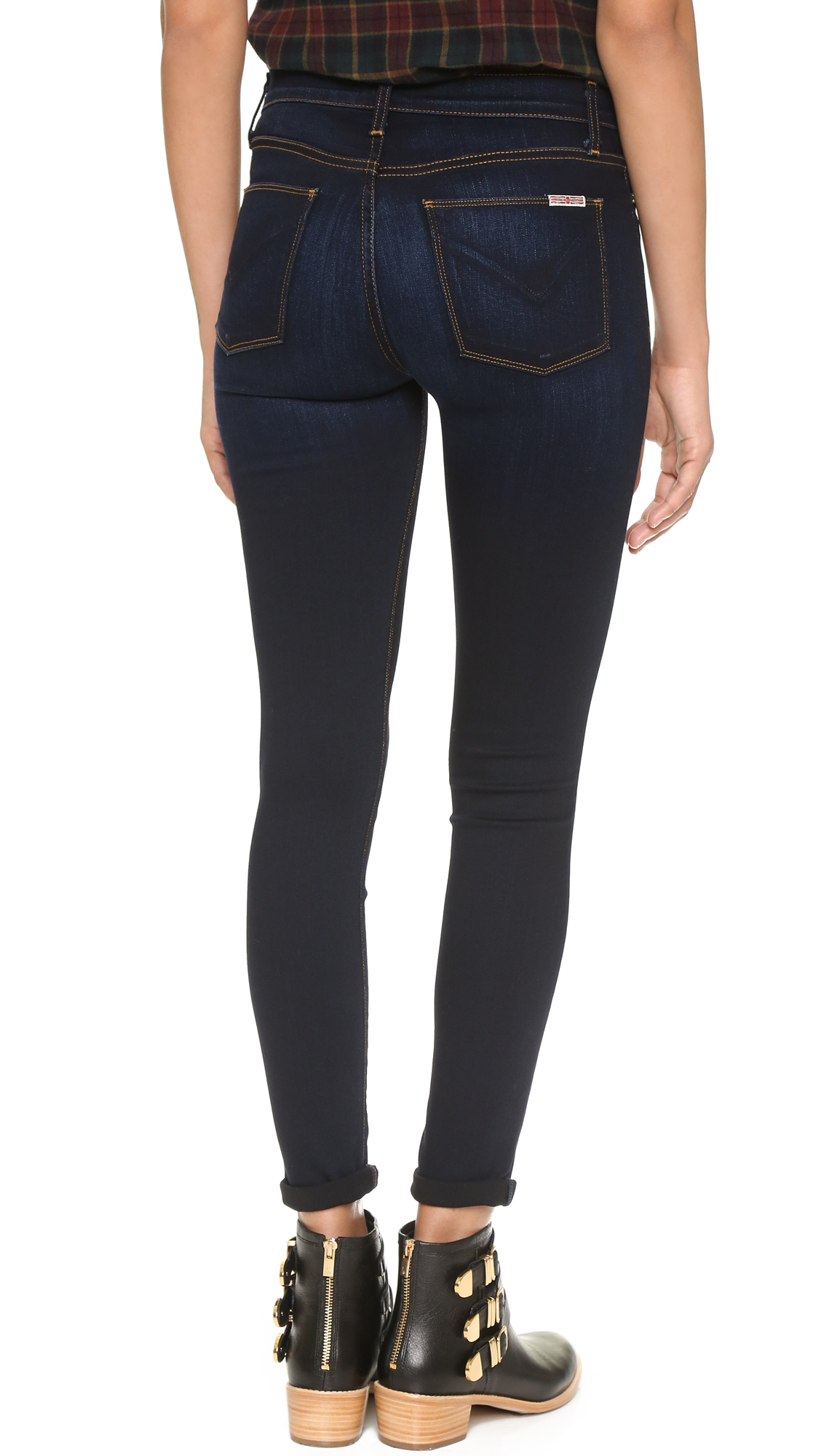 Hudson jeans Barbara High Waisted Super Skinny Jeans in Blue | Lyst