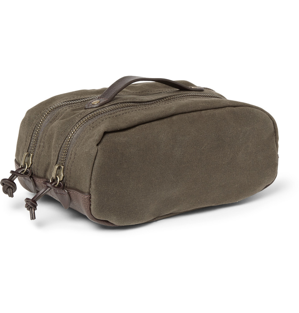 0115e9d3fa Lyst - J.Crew Abingdon Waxed-Canvas And Leather Wash Bag in Green ...