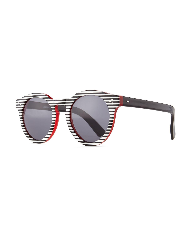 39fd92370478 Lyst - Illesteva Leonard Ii Striped Sunglasses in Black