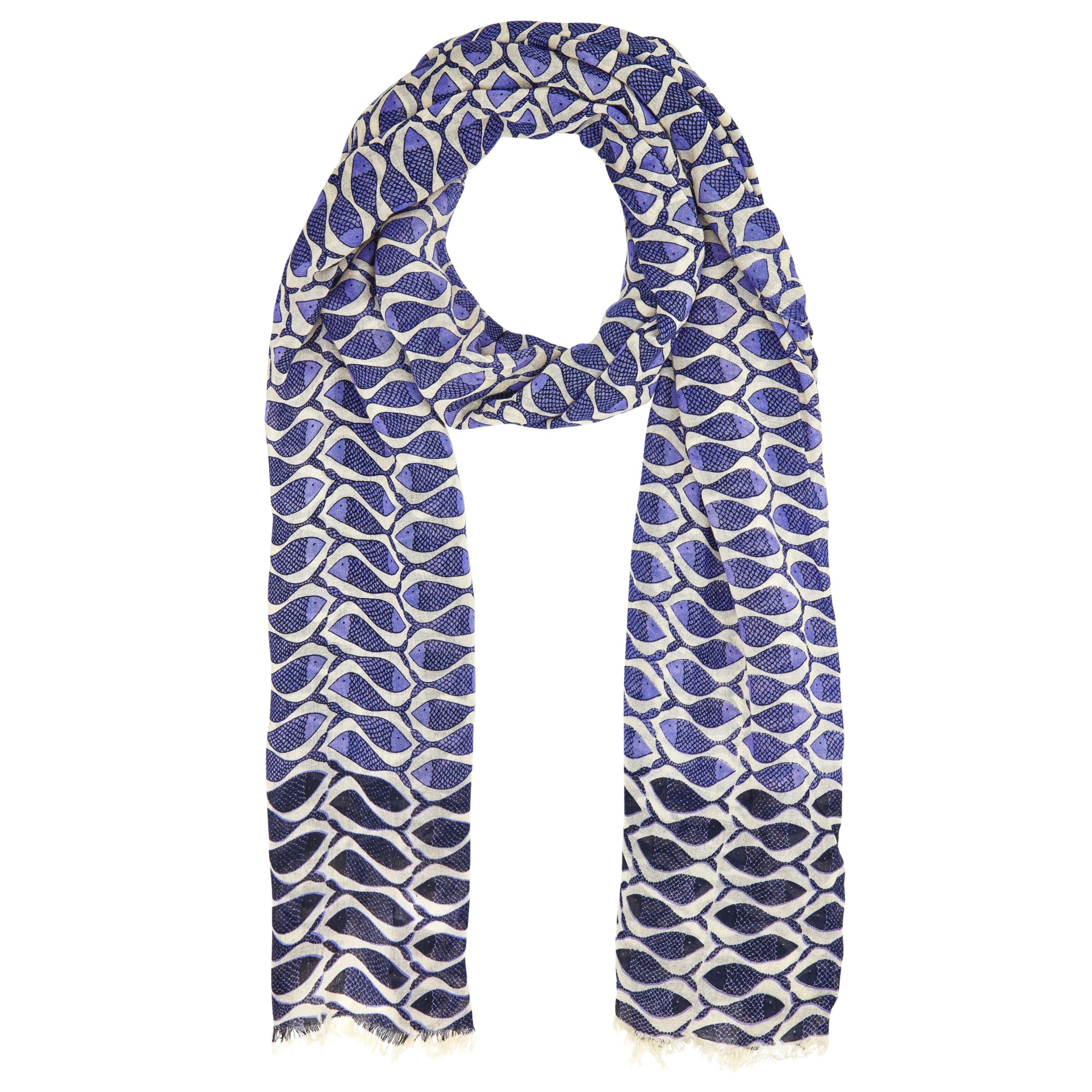 lewis friendly fish print scarf in blue lyst