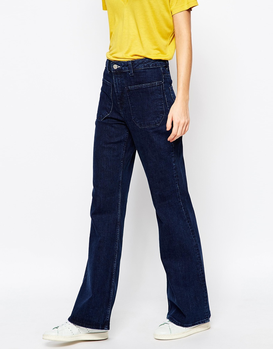 Weekday Flare Jeans With Pocket Detail in Blue | Lyst