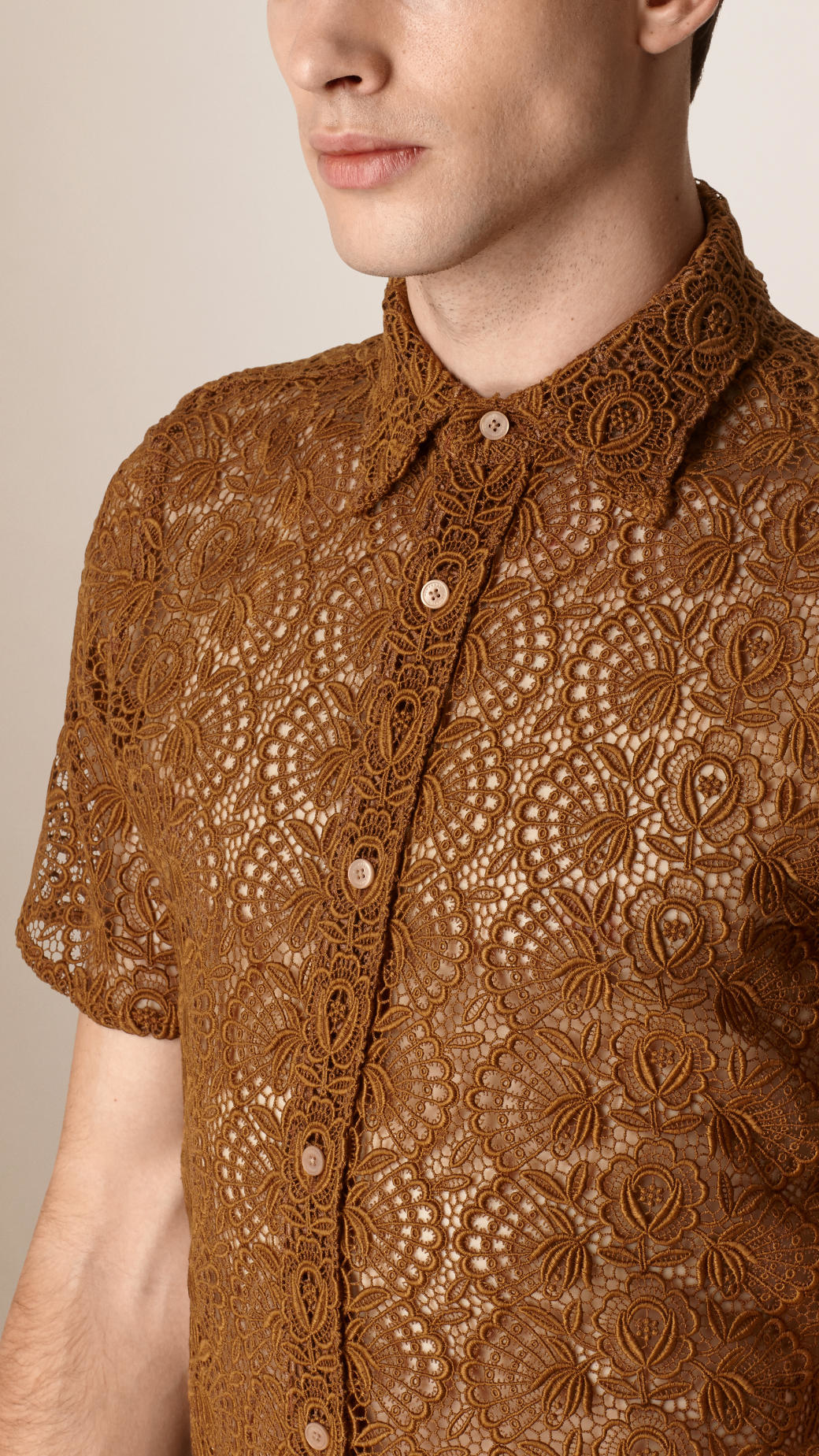 6b955e1e Burberry Swiss Lace Shirt in Brown for Men - Lyst