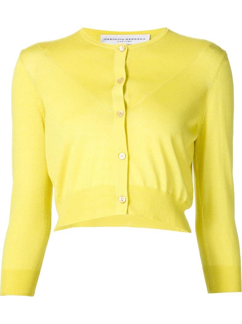 Carolina herrera Cropped Fine Knit Cardigan in Yellow   Lyst