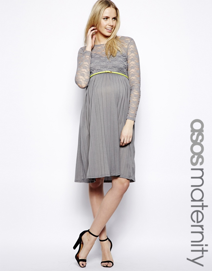 Lyst asos exclusive midi dress with lace top and pleated skirt gallery ombrellifo Images