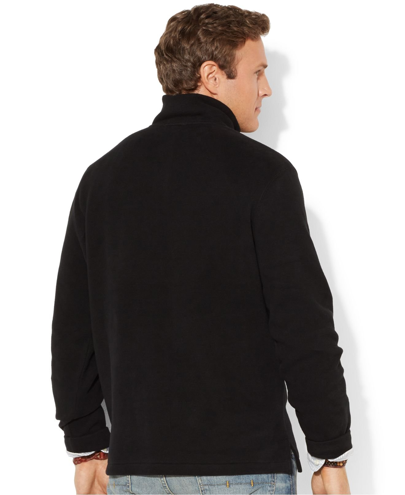 Polo ralph lauren Big And Tall Long Sleeve Solid French Rib Half Zip Sweater in Black