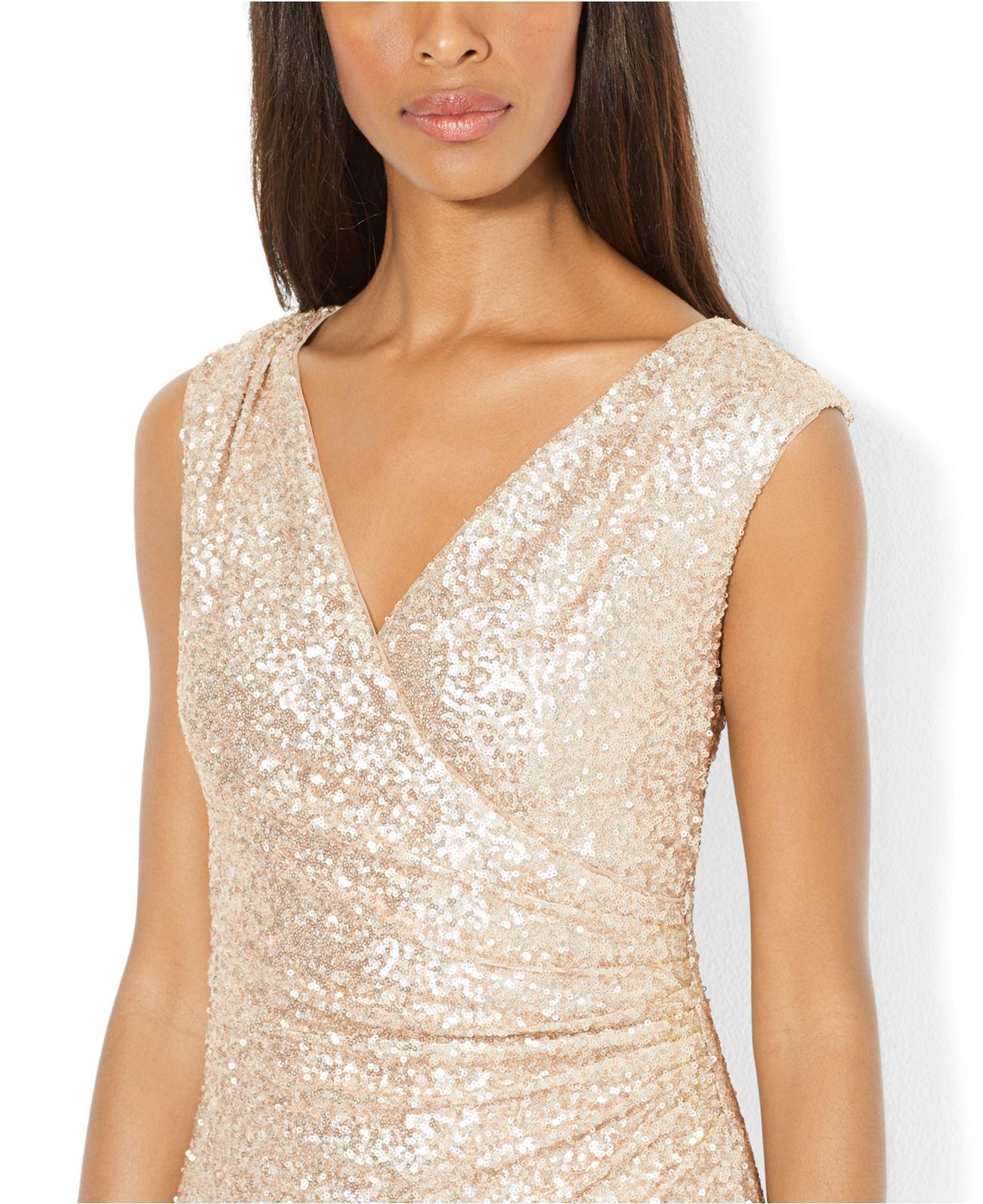 Lyst - Lauren By Ralph Lauren Surplice-Neck Sequined Gown in Pink