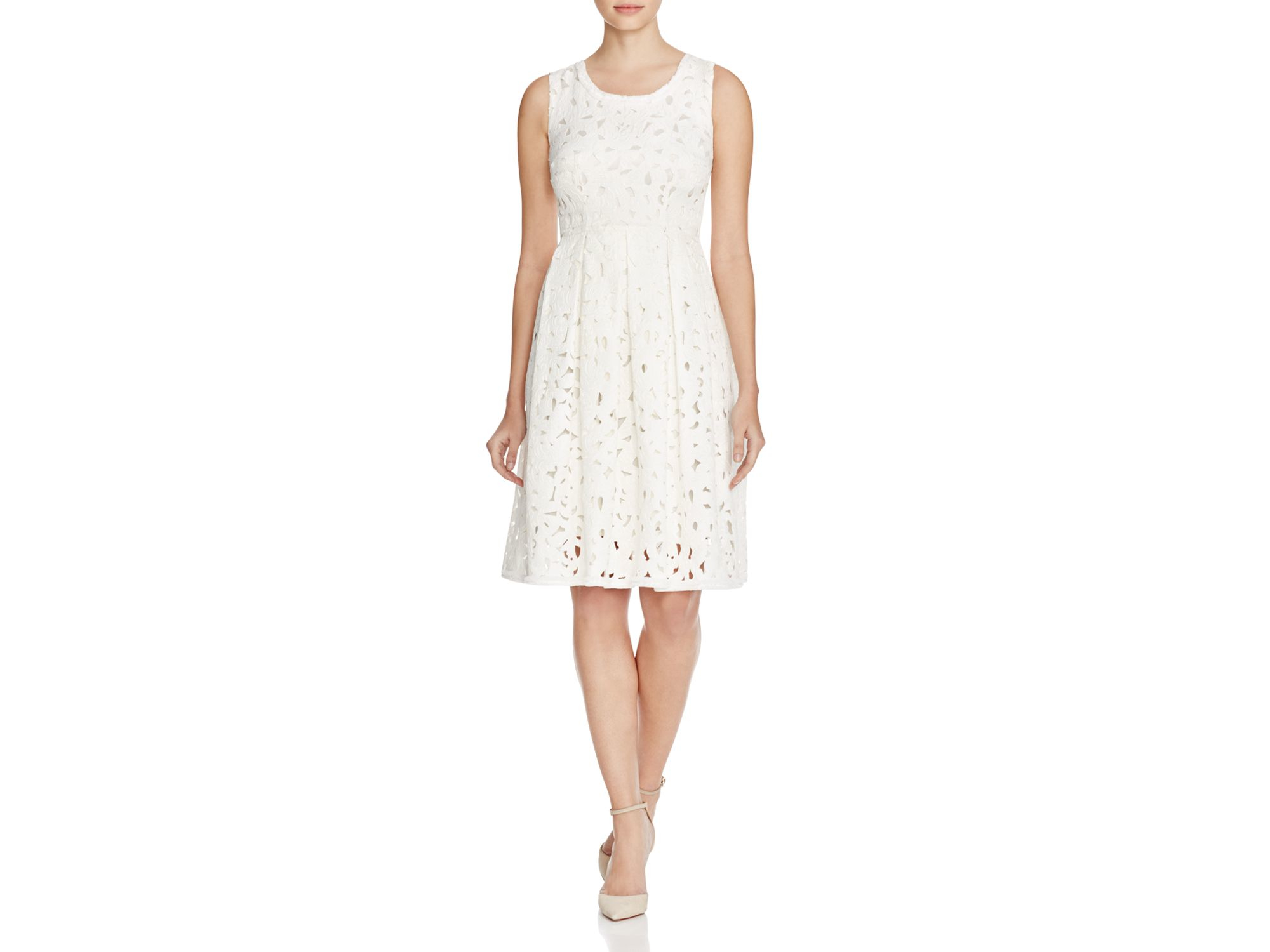 Elie Tahari Jessy Floral Fit And Flare Dress In White Lyst