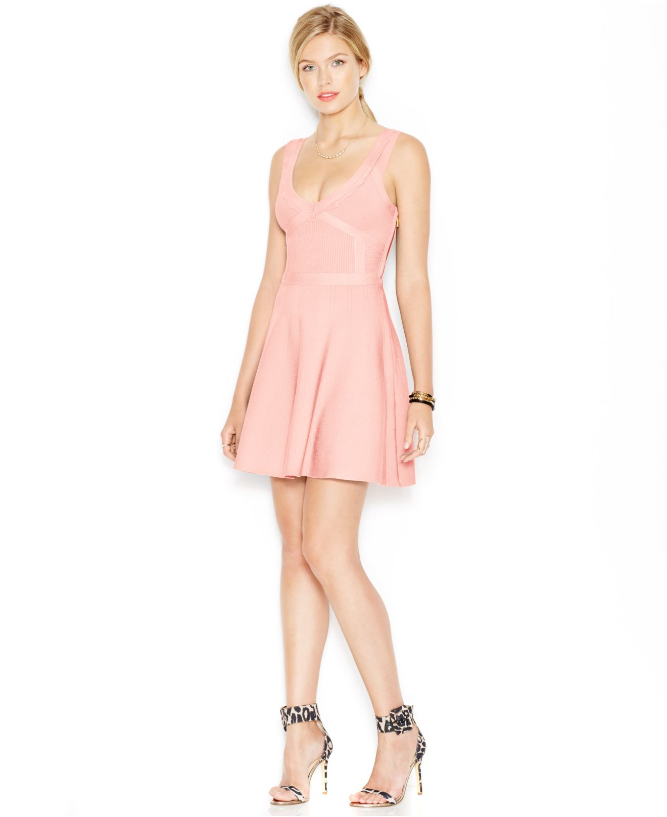 Guess Fit Amp Flare Bandage Dress In Pink Lyst