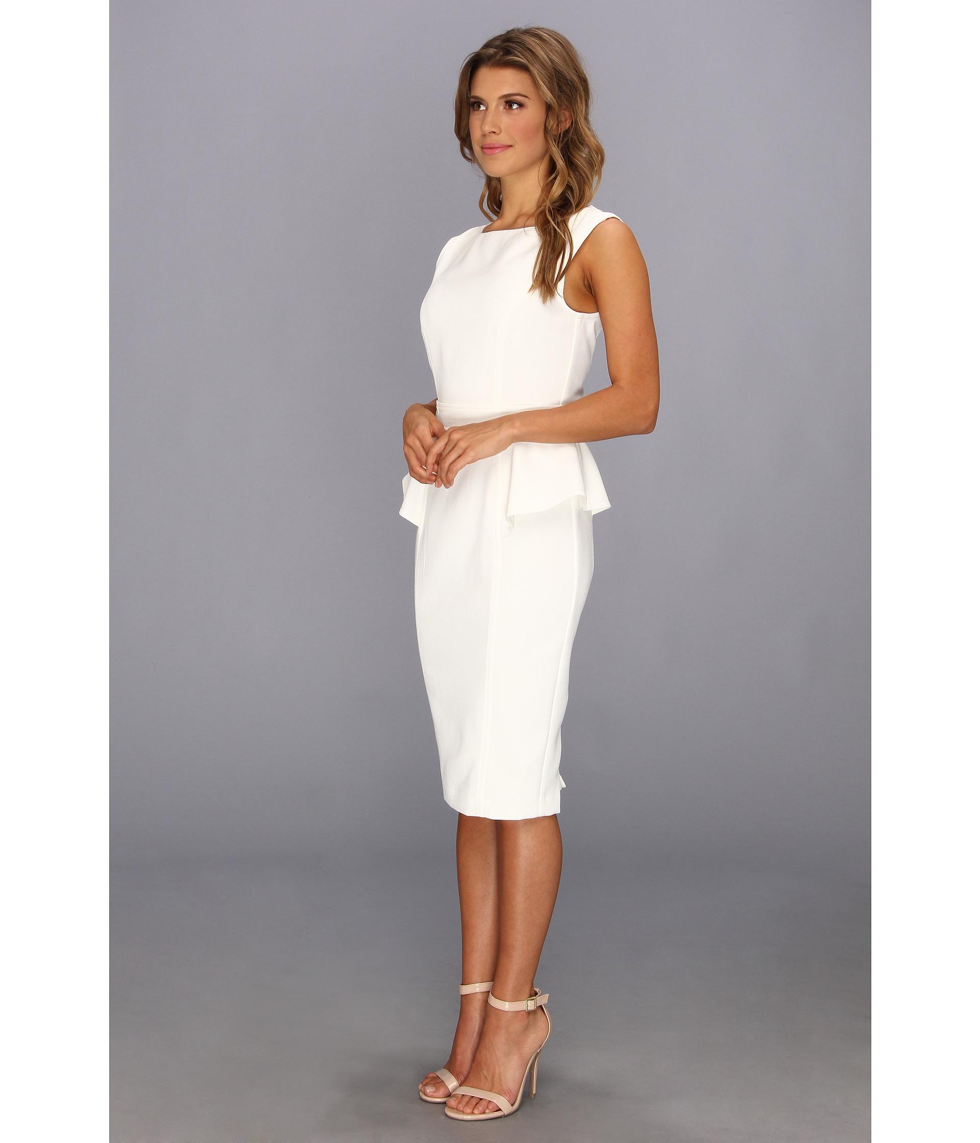 Badgley mischka Pebble Crepe Peplum Cocktail Dress in White  Lyst