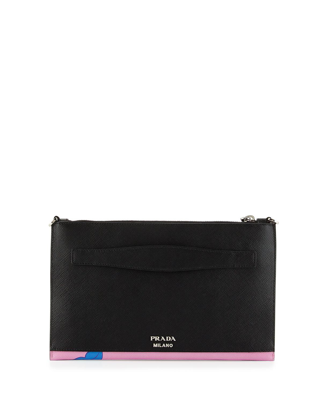 Prada Butterfly-print Saffiano Clutch Bag in Multicolor (MULTI ...