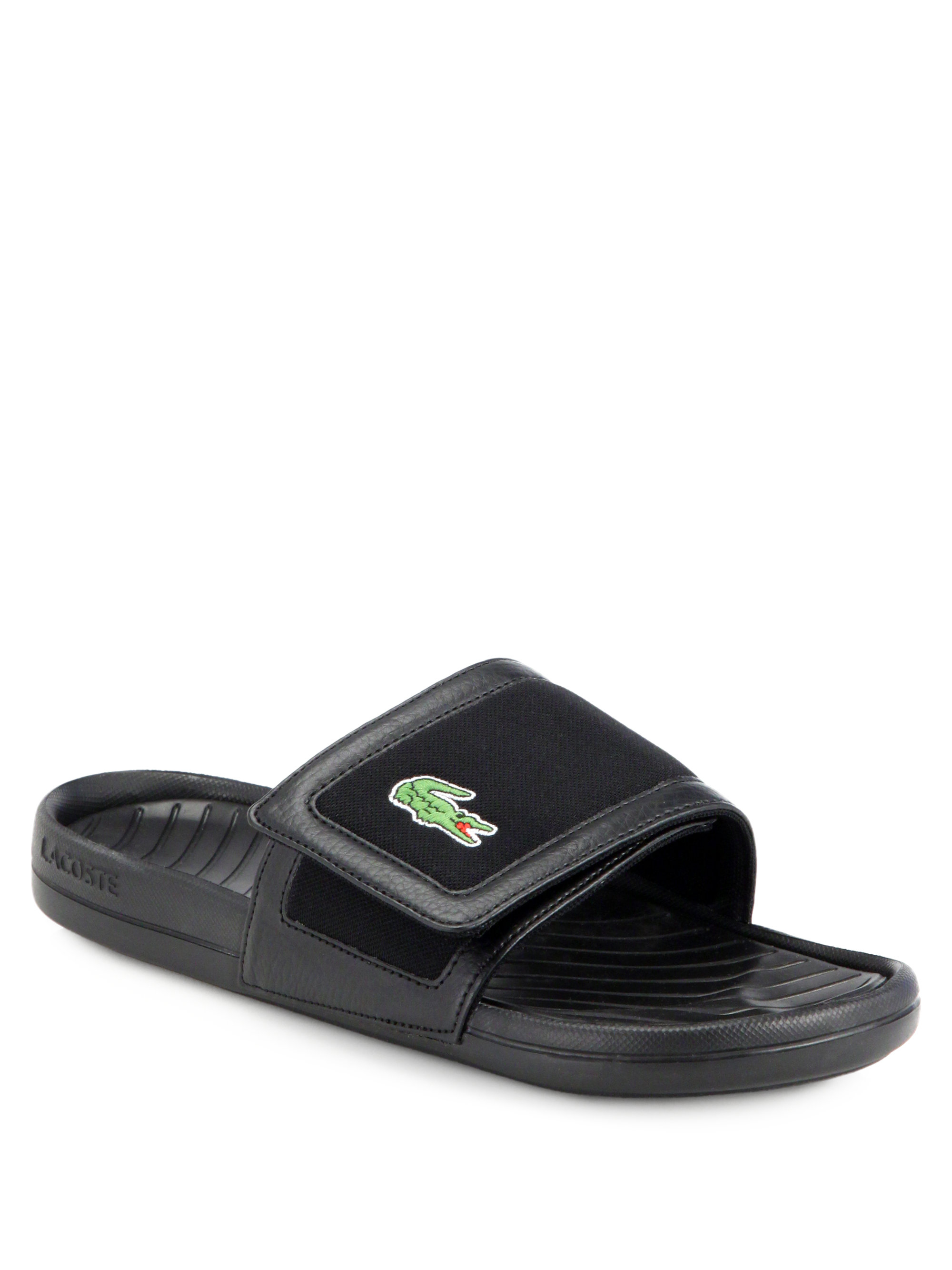 3cbbd740232 Lyst - Lacoste Velcro Sandals in Black for Men