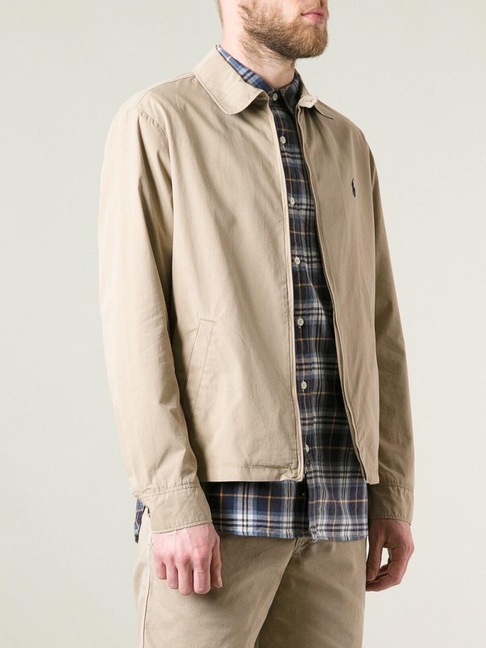 polo ralph lauren classic harrington jacket in natural for. Black Bedroom Furniture Sets. Home Design Ideas
