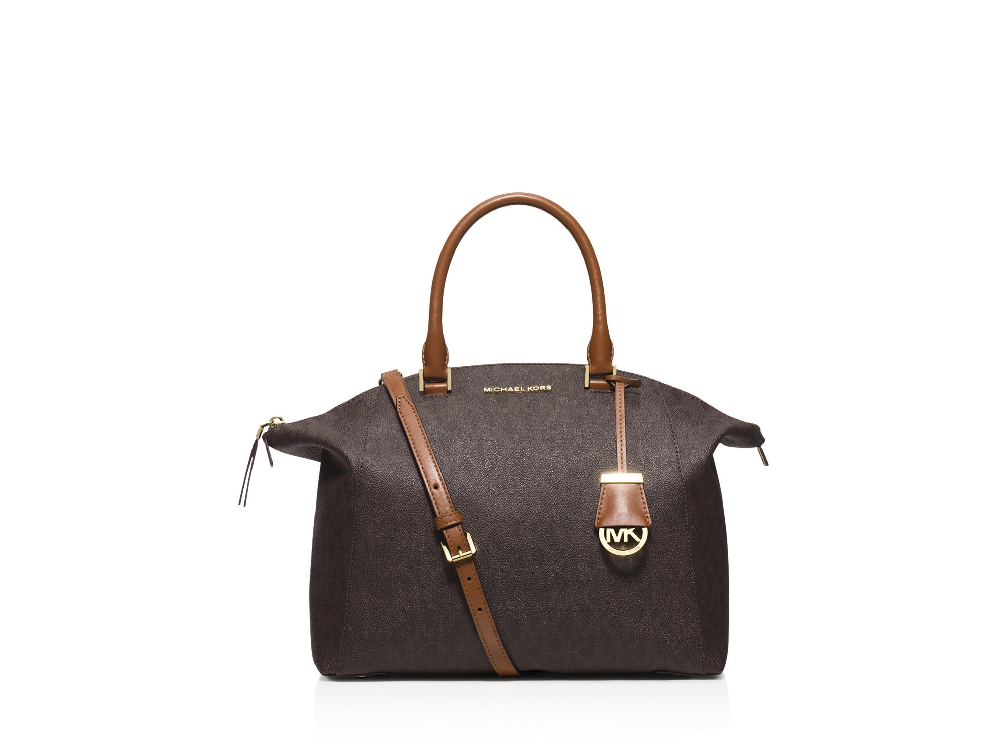 ... cheap lyst michael michael kors large riley mk shadow satchel in brown  15a41 2f0df 442e838c0f3