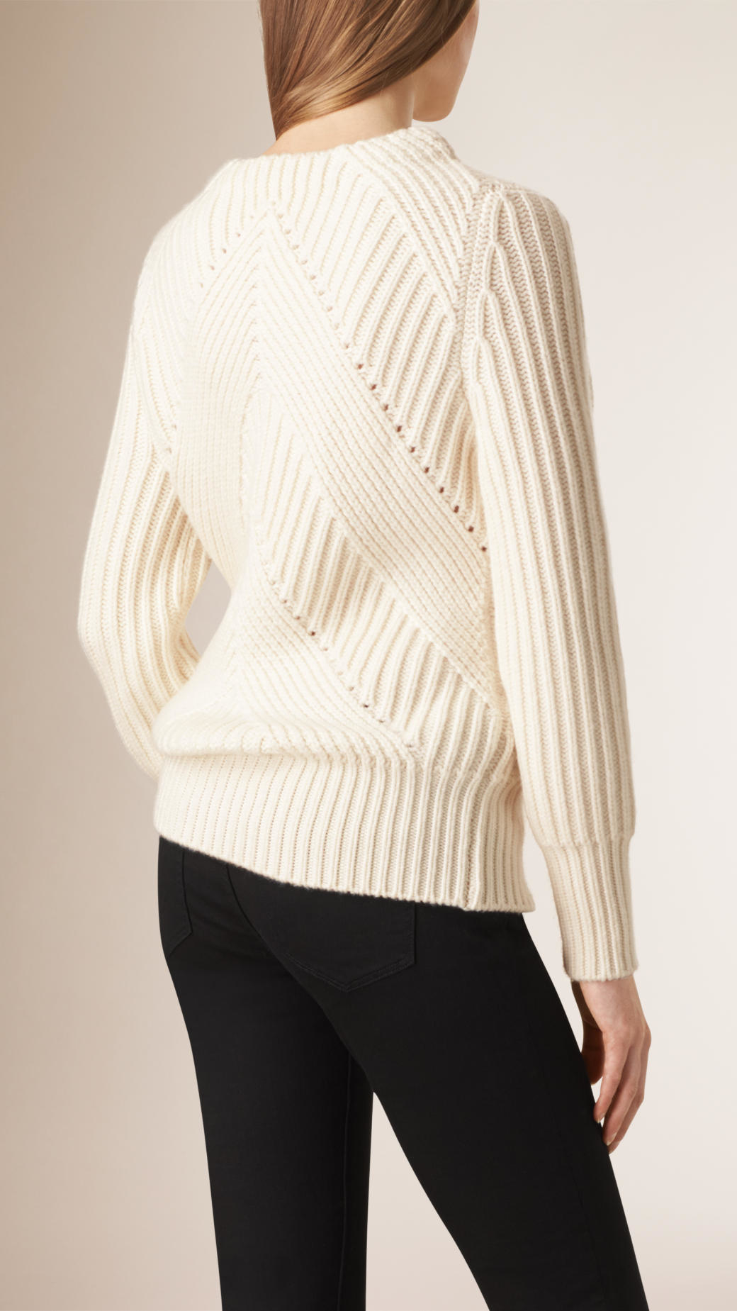 Burberry Ribbed Wool And Cashmere Sweater in Natural | Lyst
