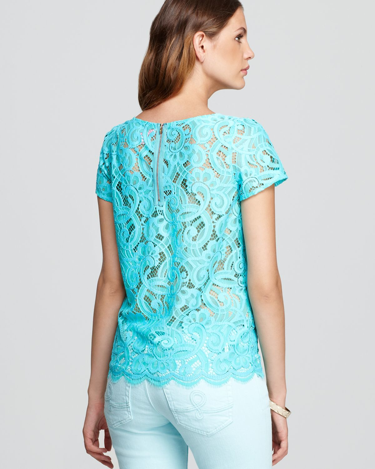 Lilly Pulitzer Poppy Lace Top in Green - Lyst