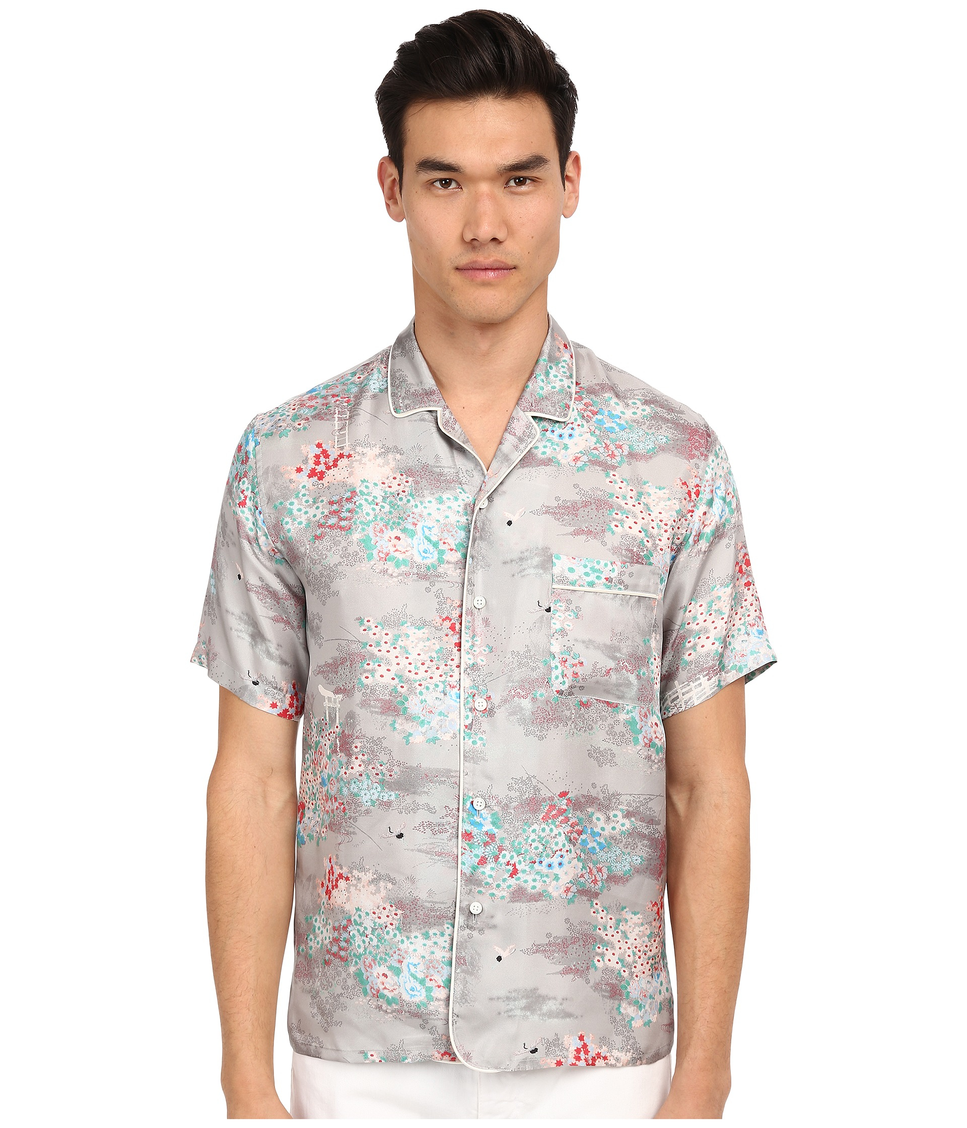 Marc jacobs Mellow Meadow Silk Classic Short Sleeve Button Up for ...