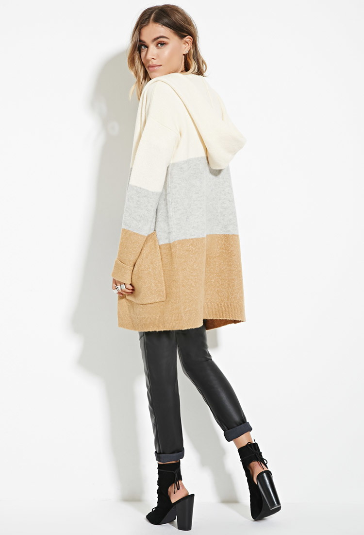 Forever 21 Hooded Colorblock Longline Cardigan in Gray | Lyst