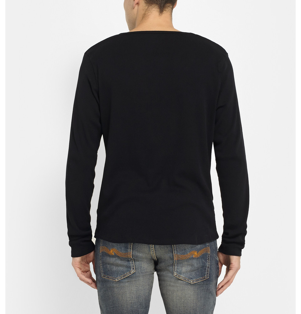a0f0bd77 Nudie Jeans Fairtrade Organic Cotton-jersey Henley T-shirt in Black ...